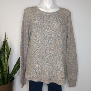 Faded Glory rainbow cable knit sweater size L